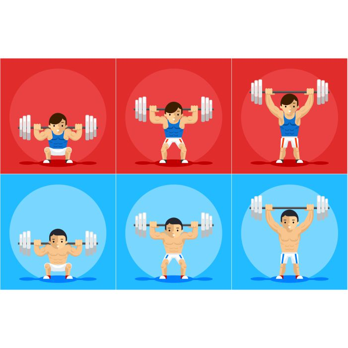 weightlifting animation character sport training barbell strength order manual 1