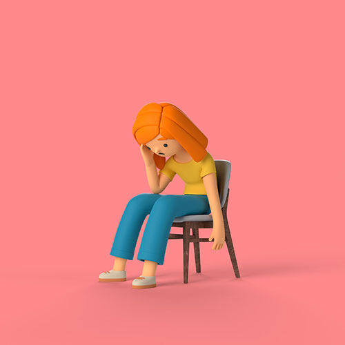 3d girl character sitting chair 1