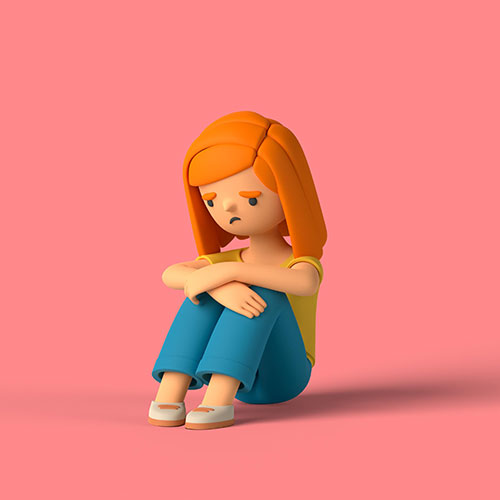 3d girl character sitting floor sad 1