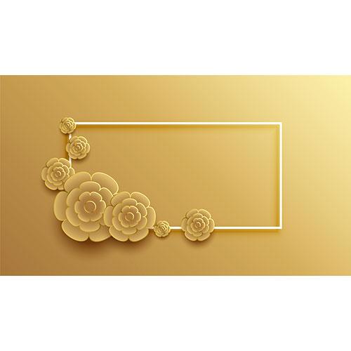 3d style golden flower frame background 1