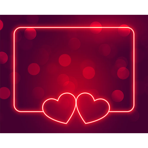 Beautiful neon hearts frame with text space 1