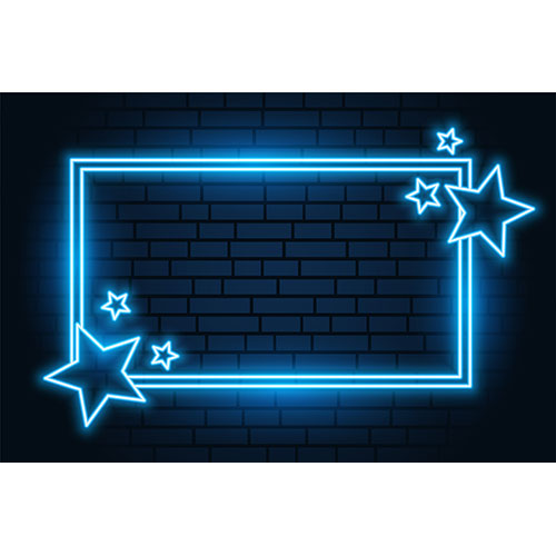 Blue neon star rectangular frame with text space 1