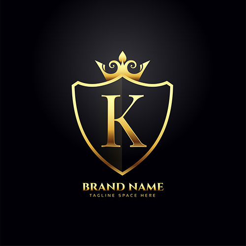 Letter k luxury logo concept with golden crown 1