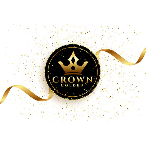 Luxury golden crown background with ribbon 1