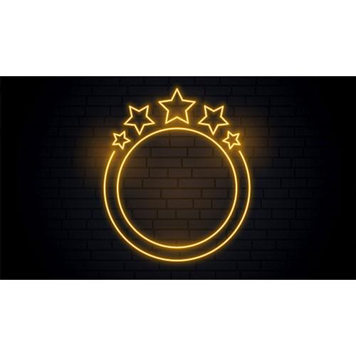 Nice golden neon circular frame with stars 1