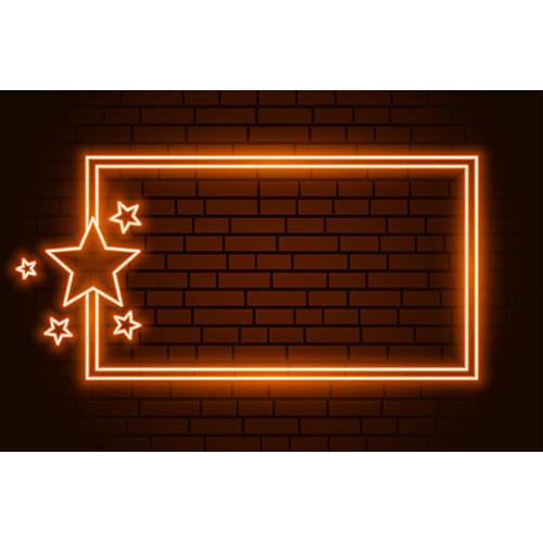 Orange neon rectangluar frame with stars 1