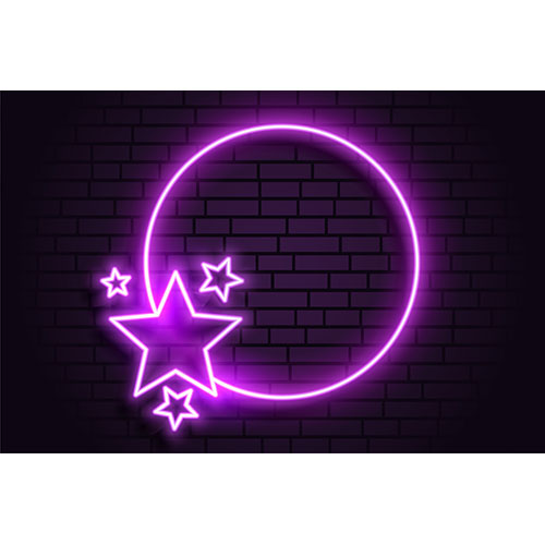 Purple neon romantic circular frame with stars 1