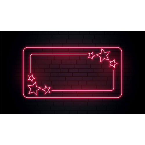 Red neon stars frame with text space 1