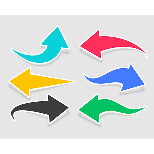 Six arrow stickers different colors 1