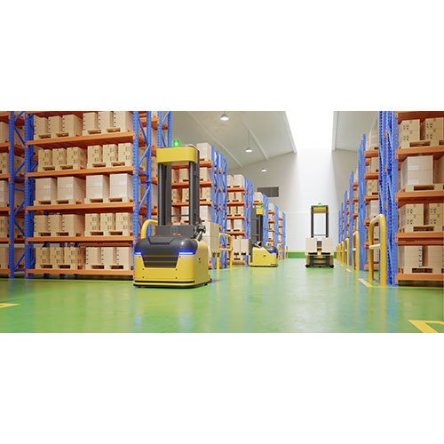agv forklift trucks transport more with safety warehouse 3d rendering 1