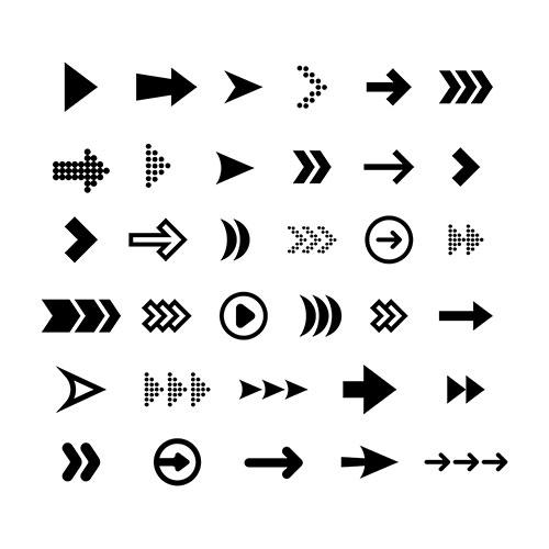 big black arrows flat icon set modern abstract simple c 1