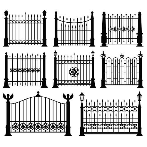black white iron gates fences set 1