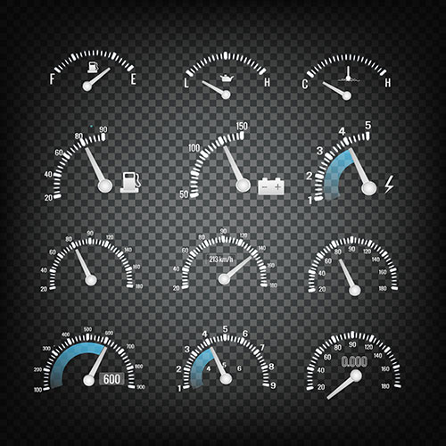 car dashboard control panel elements collection 1