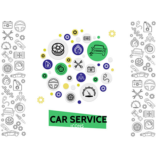 car repair service template with wrenches automobile tire radiator gears brake disc steering wheel 1