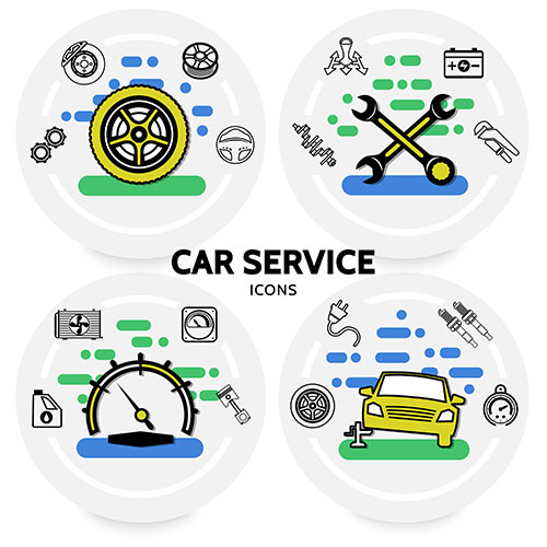 car service concept with tire gears wrenches transmission battery shock absorber engine piston spark 1