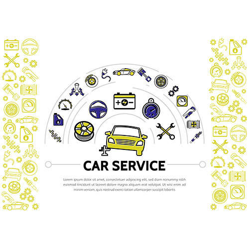 car service line icons composition with shock absorber oil speedometer transmission brake disc piston 1