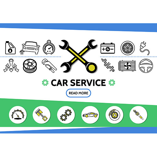 car service line icons set with oil automobile tire speedometer battery wrenches transmission radiator 1
