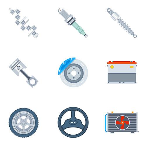car spare parts flat icons tool repair design motor wheel illustration vector 1