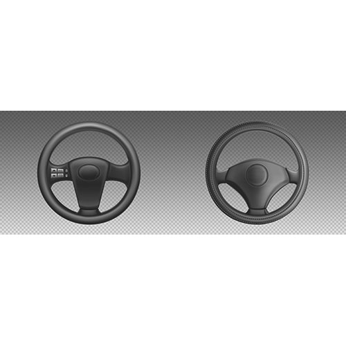 car steering wheels auto part control drive turn realistic set black leather automobile steering wheels 1