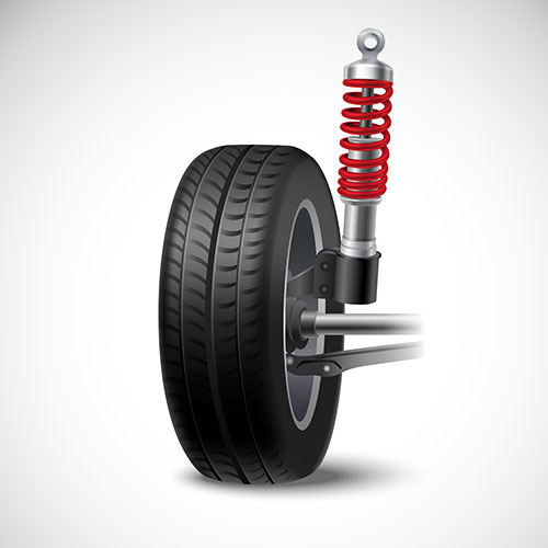 car suspension realistic icon with wheel tire shock absorber 1