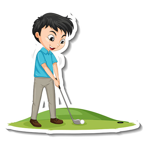 cartoon character sticker with a boy playing golf 1