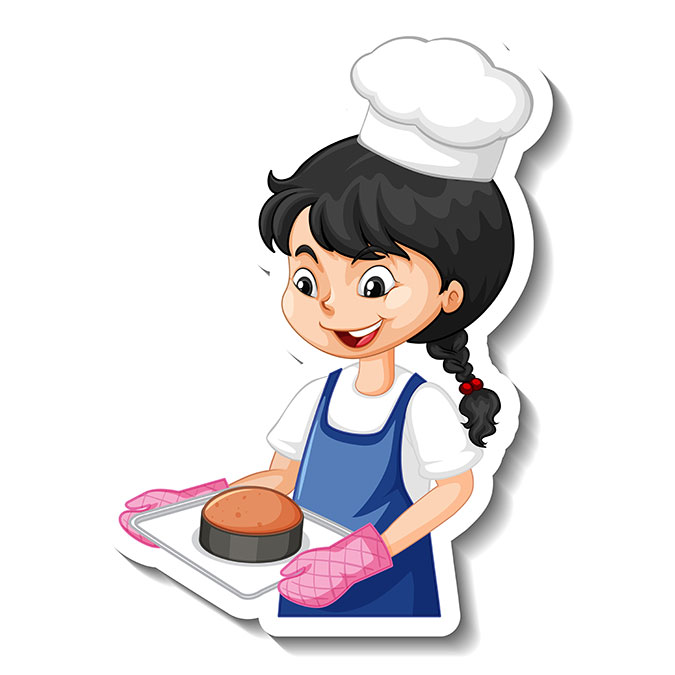 cartoon character sticker with baker girl 1