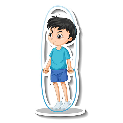 cartoon character sticker with boy jumping rope 1