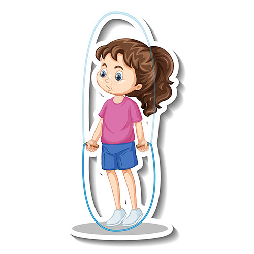 cartoon character sticker with girl jumping rope 1