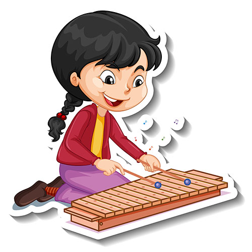 cartoon character sticker with girl playing xylophone 1