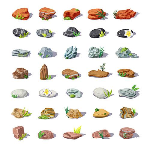 cartoon colorful stones set with boulders pebbles sandstones rubbles cobblestones rocks different shapes 1