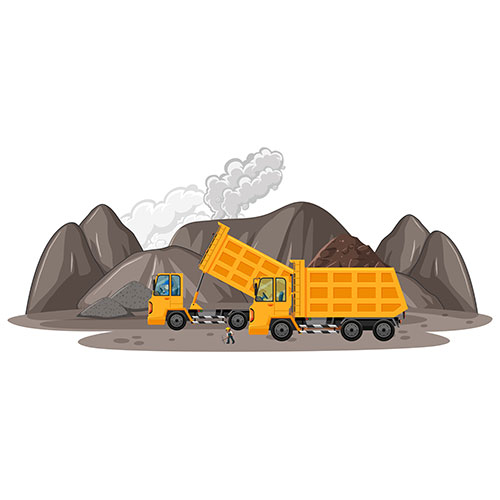 coal mining illustration with construction trucks 1