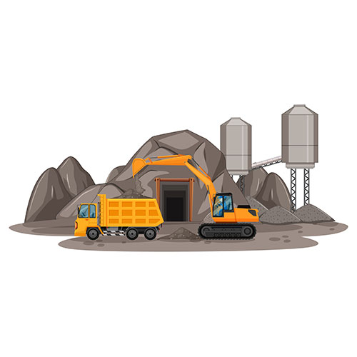 coal mining scene with different types construction trucks 1