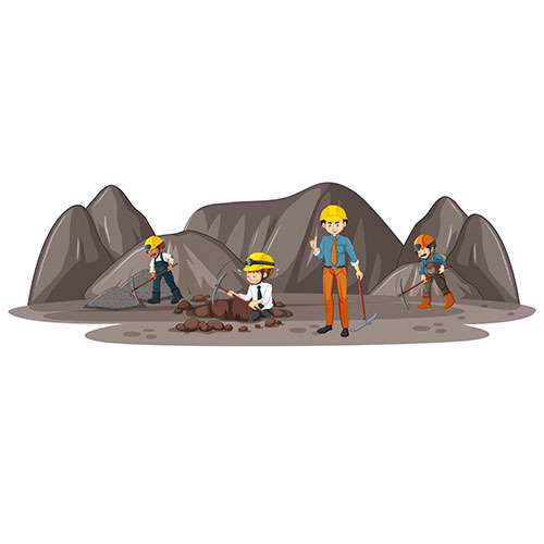 coal mining scene with many engineers 1