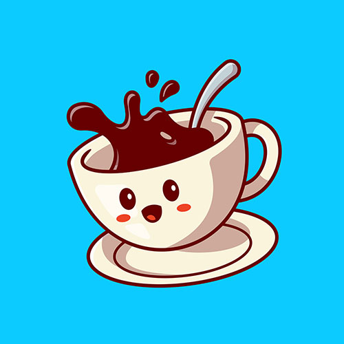 cute happy coffee cup cartoon vector icon illustration drink character icon concept flat cartoon style 1