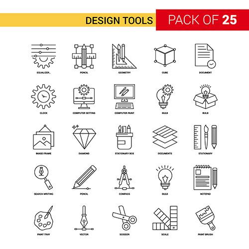 design tools black line icon 25 business outline icon set 1