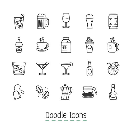 doodle drinks icons 1