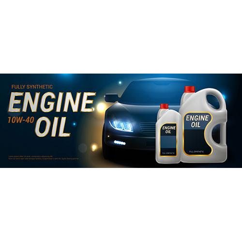 engine oil banner realistic plastic canister motor oil 1