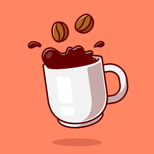 floating coffee with beans cartoon icon illustration 1