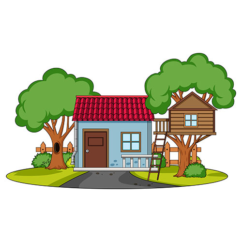front view house with nature elements white background 1