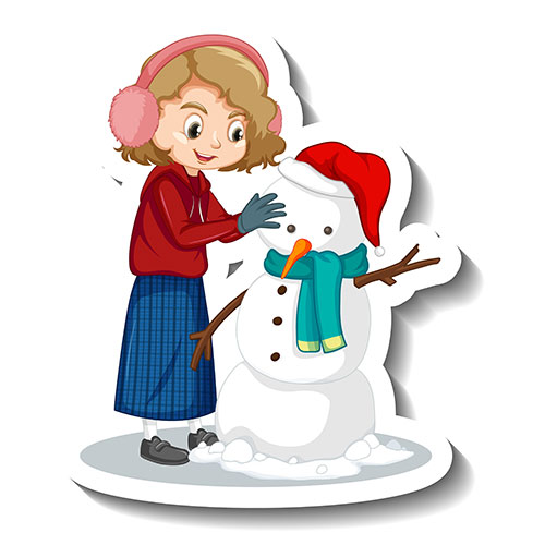 girl building snowman cartoon character sticker 1