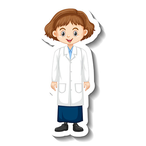 girl science gown cartoon character sticker 1