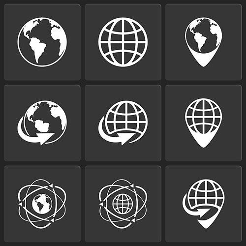 globe earth world icons vector white black 1