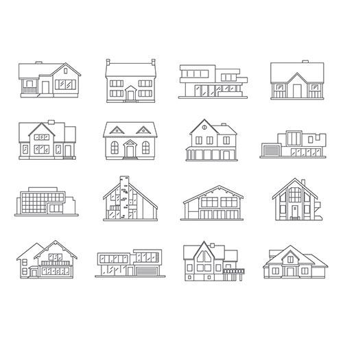house icons flat set 1