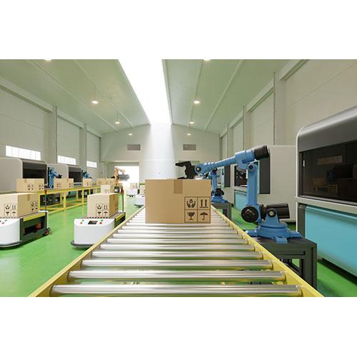 interior warehouse logistic center have agv robot arm 1