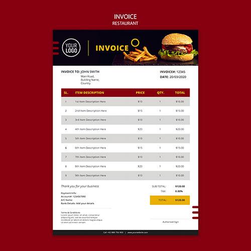 invoice design restaurant 1
