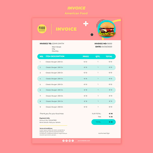 invoice template american food with burger 1
