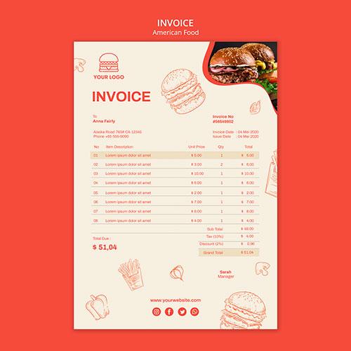 invoice template burger restaurant 1
