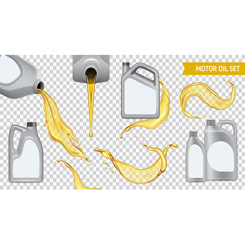 isolated realistic motor oil transparent icon set jerrycan with yellow oil transparent 1