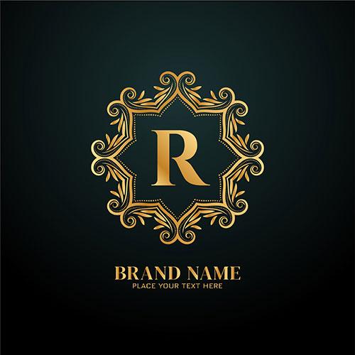 letter r luxury brand logo golden design 1