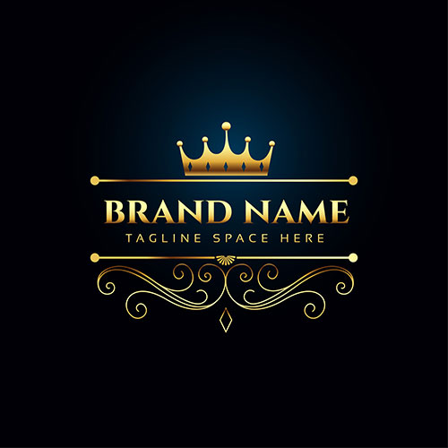 luxury royal logo concept with golden crown 1